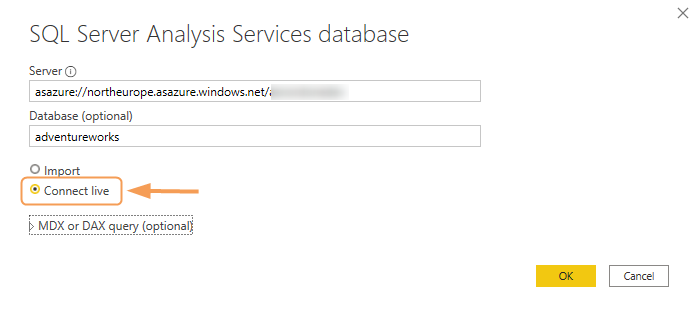 Connect live - SQL Server Analysis Services database