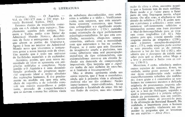 Recensão a O Aquário, Revista Brotéria
