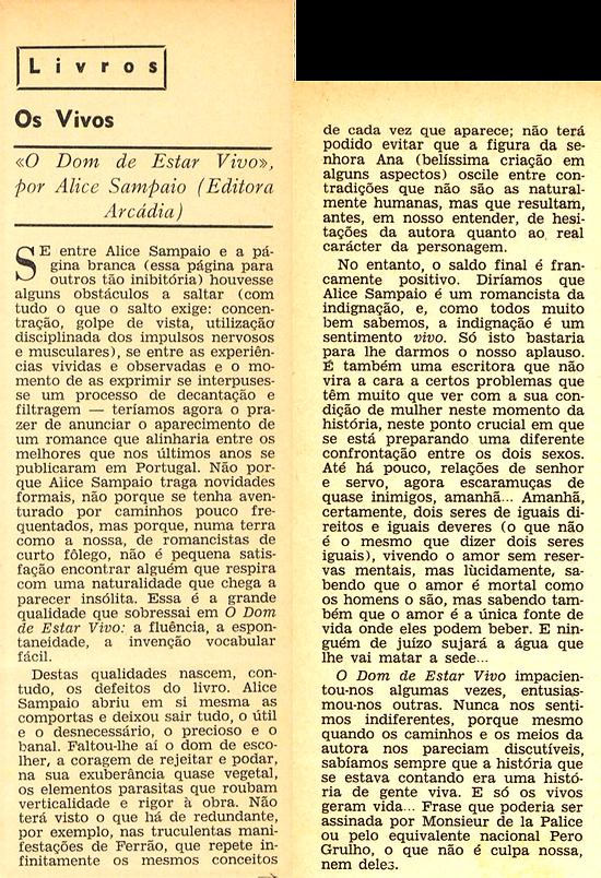 Recensão a O Dom de Estar Vivo, por José Saramago
