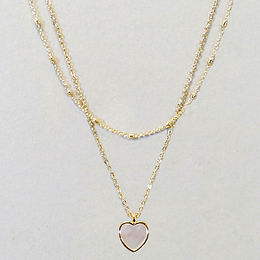 Abalone Heart Layer Necklace - White