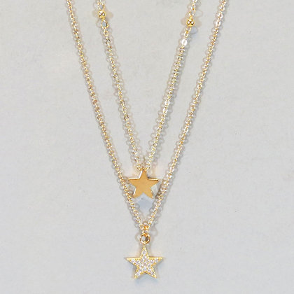Double Star Layered Necklace