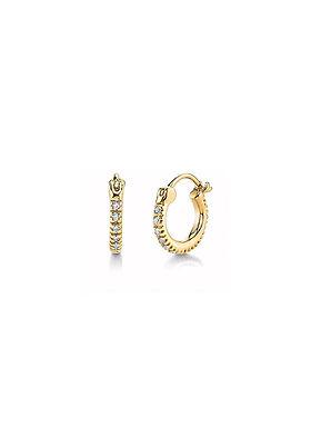 Florence Cubic Zirconia Huggie Earrings - Gold
