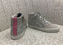 """Ray"" Silver Glitter High Tops"