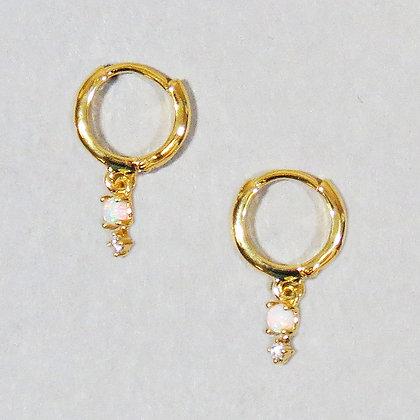 Opal Huggie Earrings - Gold