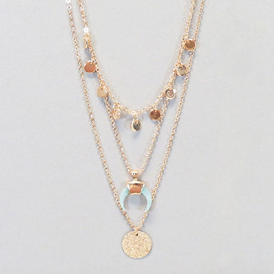 Triple Layered Horn Charm Necklace