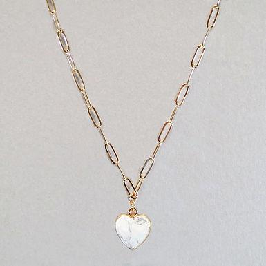 Semi Precious Heart Stone Necklace - Howlite