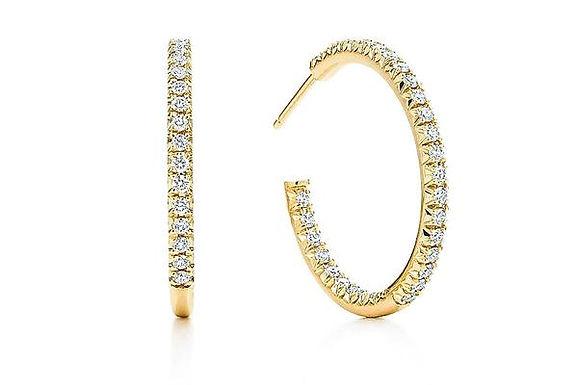 Grace Cubic Zirconia Hoop Earrings - Gold