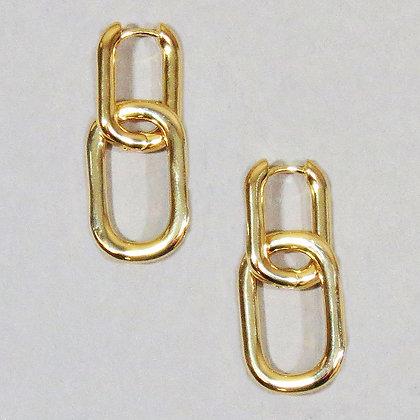 Link Hoop Dangle Earrings - Gold