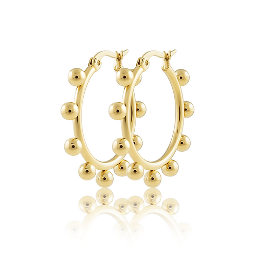 Erin Studded Hoops - Small