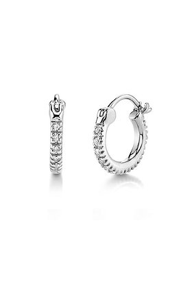 Florence Cubic Zirconia Huggie Earrings - Silver