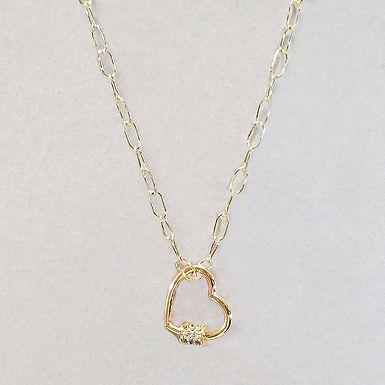 Rhinestone Heart Chain Necklace - Gold