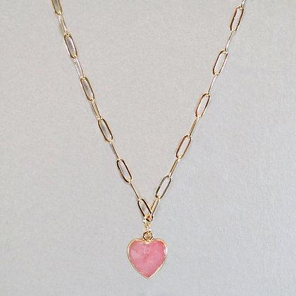 Semi Precious Heart Stone Necklace