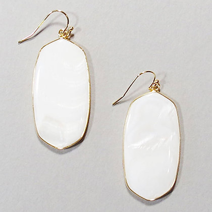 Gold Wrapped Stone Earrings - Mother of Pearl