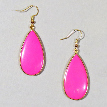Gold Wrapped Stone Earrings - Hot Pink