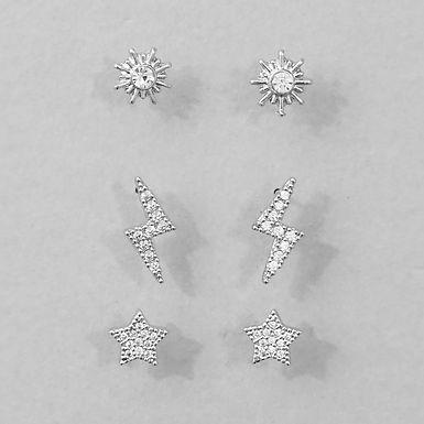 Set of 3 Cubic Zirconia Stud Earrings - Silver