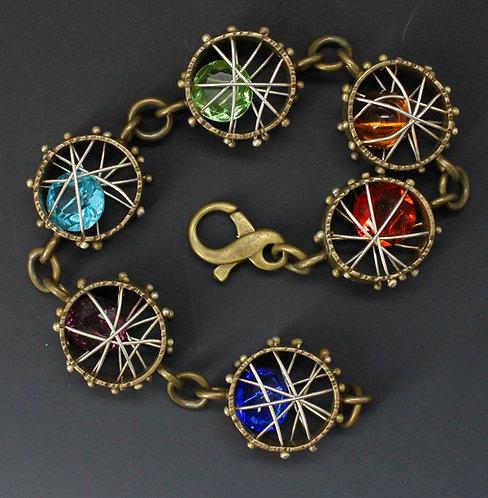 Rainbow Crystal Cage Bracelet