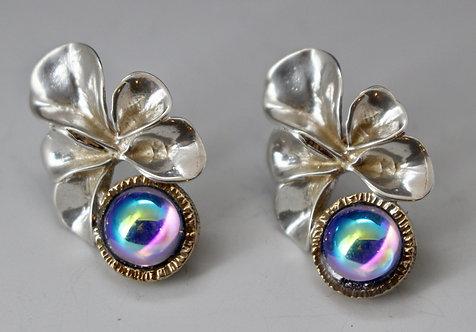Simple Metal Flower Sterling Earrings