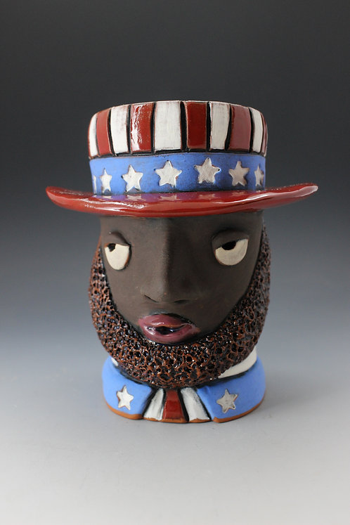 African Uncle Sam Face Pot