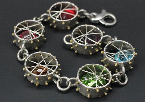 Rainbow Crystal Cage Bracelet silver plate