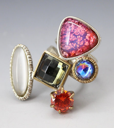 Vintage glass stone ring