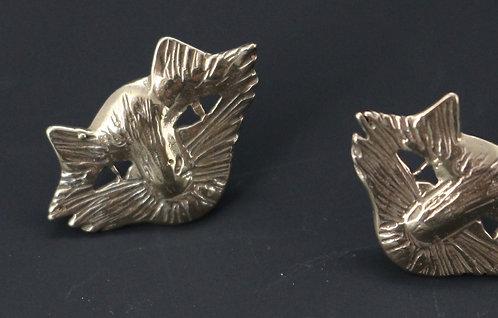 Cat Face earrings in bronze