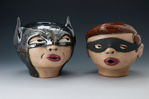 Dynamic Duo Pair of Face Pots