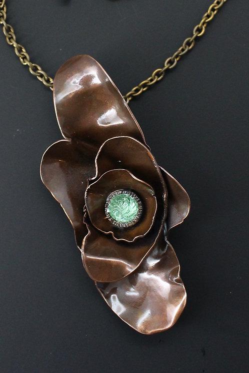 Peony Copper Pendant