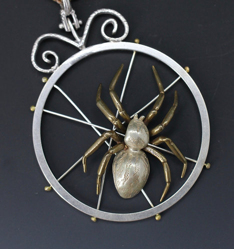 Spider on a web pendant