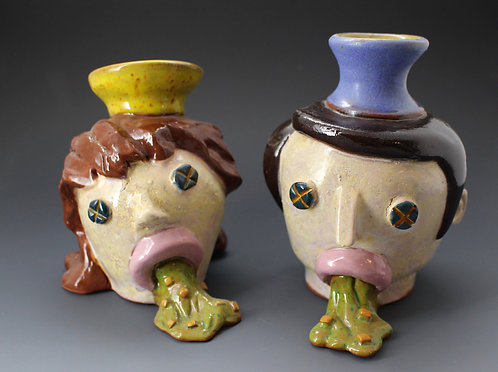 Pair of His and Hers Vomit FacePots