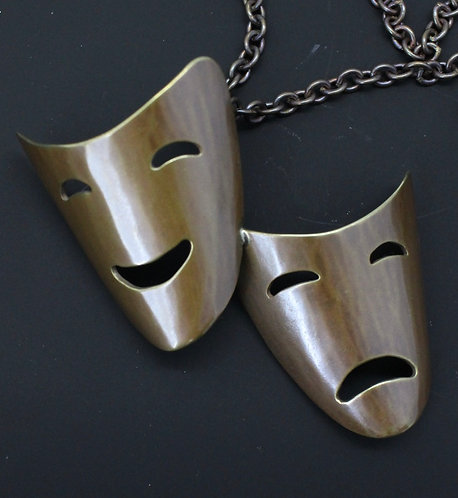Comedy and Tragedy Mask Pendant 1980's