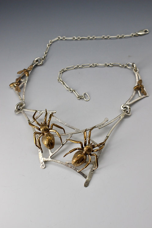 Double Spider Necklace on Web