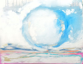 abstract art, kristen marie art, blue circle, abstract work on canvas, local abstract artist