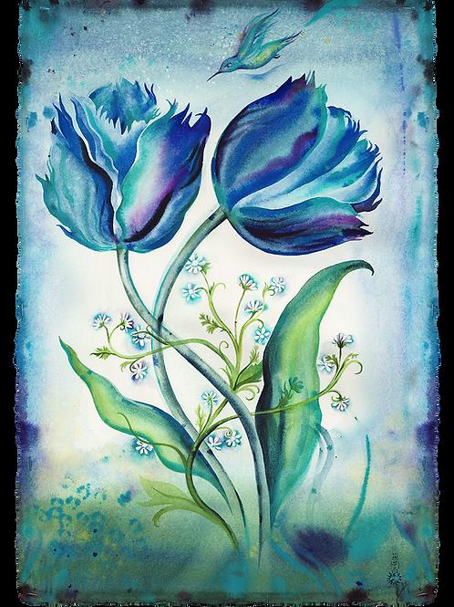 Blue Tulips Hummingbird