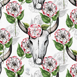 Cow Skull Camellia  © Sandie Turchyn
