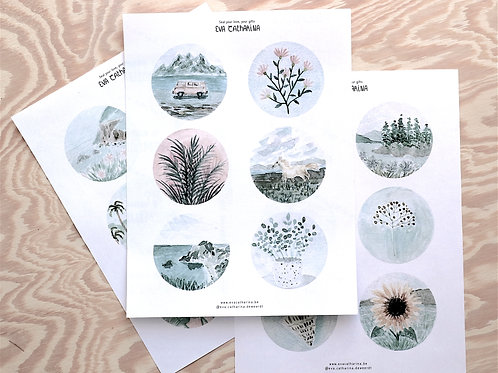 Set of 18 unique stickers, handpainted watercolor