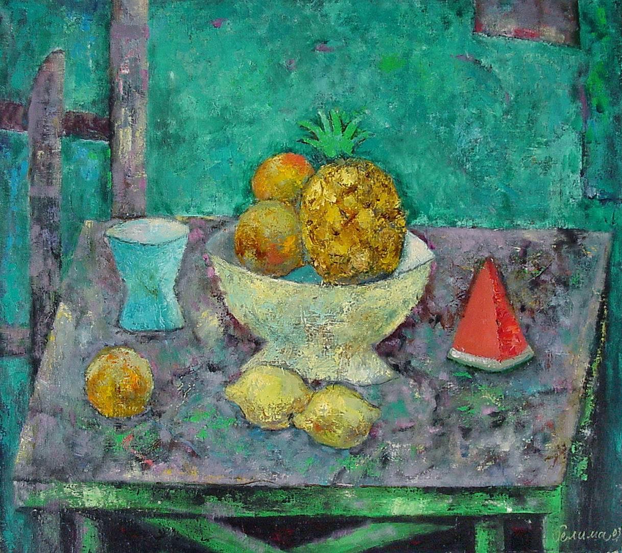 Натюрморт с ананасом 2007 х.м 60x70