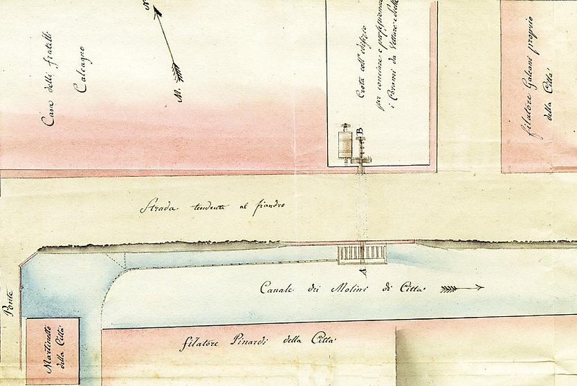 1818. Planimetria conceria Calcagno in borgo dora a Torino