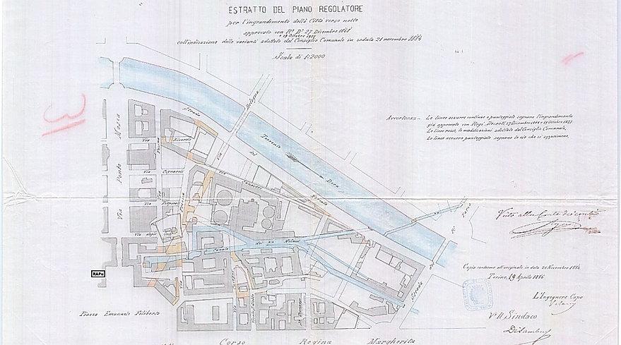 Torino Piano Regolatore 1868 borgo Dora Molassi