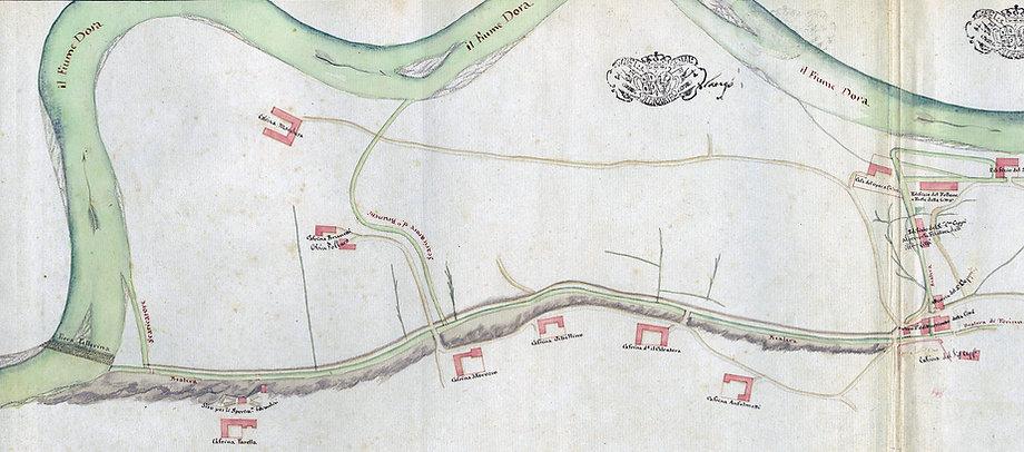 Canale Pellerina, basse di Dora e cascine alla fine del settecento