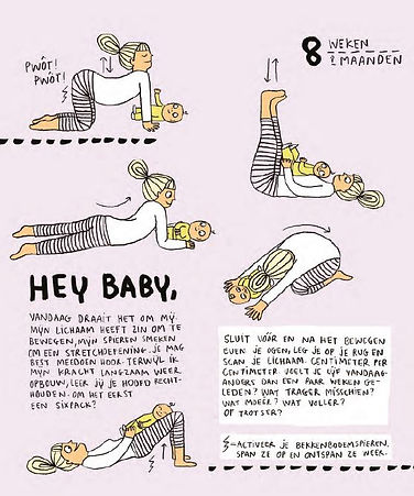 Book page with dutch text and several illustrations of a woman doing different yoga poses with her baby.