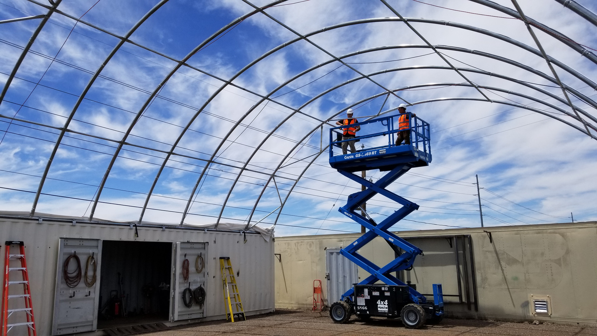 Shipping container canopy install