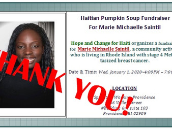 Thank you for your contribution to Haitian Pumpkin Soup Fundraiser For Marie Michaelle Saintil