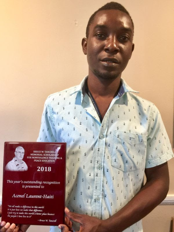 Acenel Laurent received the Bruce W. Tancrell Memorial Scholarship for Nonviolence Training & Peace Education at URI.