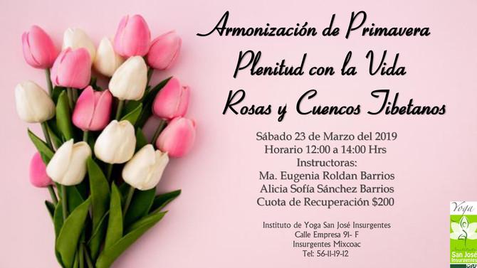 Armonización  de Primavera Plenitud con la Vida Rosas y Cuencos