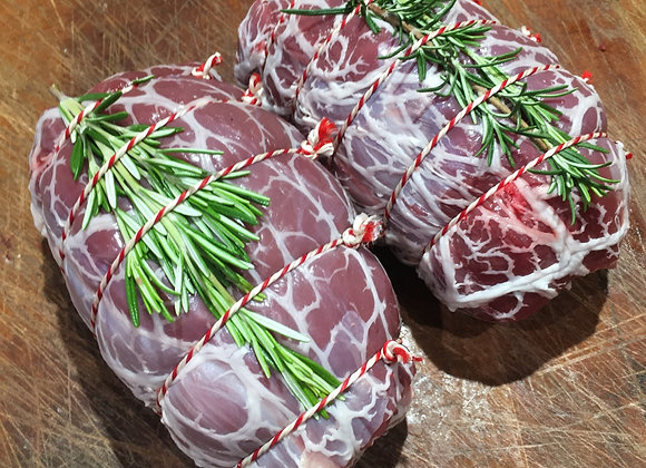 Venison haunch joint wrapped in caul