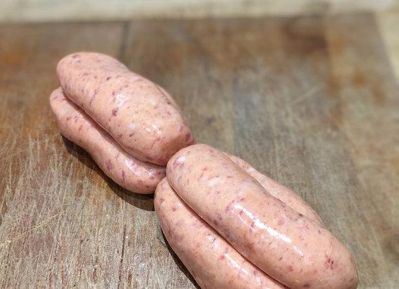 Pork, tomato and Worcestershire sauce sausage