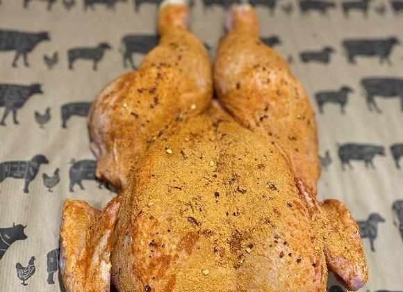 Spatchcock chicken marinated