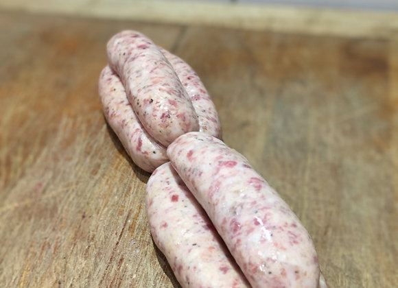 Homemade pork and black cracked pepper sausages