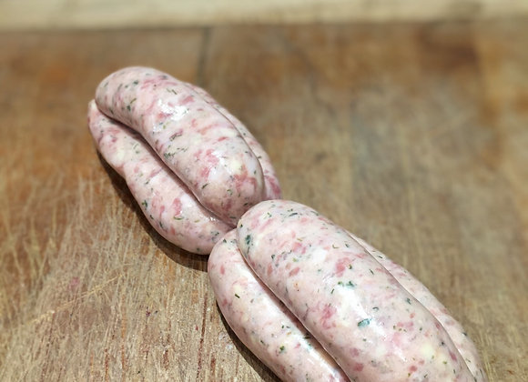 Homemade free range pork, mature cheddar and chive sausages