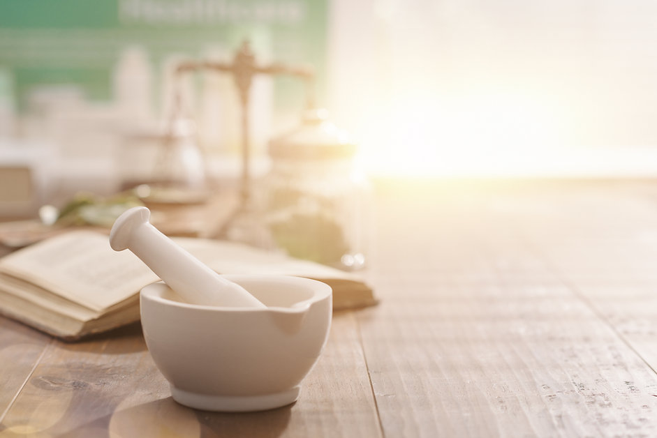Mortar and pestle with pharmaceutical pr